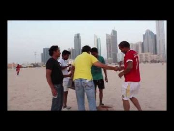 Arif Mirza playing Cricket with the Working Men of Dubai during a Friday evening.